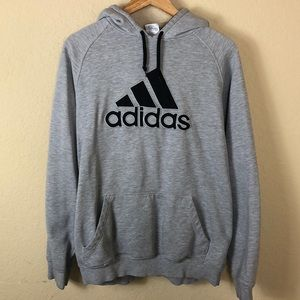 Men's Adidas grey appliqué sweatshirt hoodie L